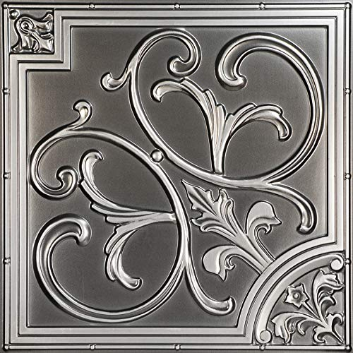 From Plain To Beautiful In Hours 204-25as Lilies and Swirls Ceiling Tile, Antique Silver