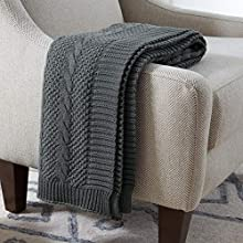 Stone & Beam Transitional Chunky Cable Knit Throw Blanket 100% Cotton, Charcoal