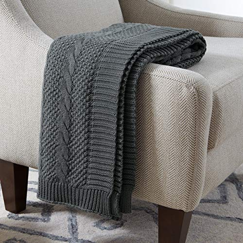 (Stone & Beam Transitional Chunky Cable Knit Throw - 100% Cotton - Charcoal)