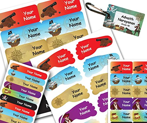 Smile Labels | Starter Label Combo Pack for Kids – Set of 48 Personalized Waterproof Name Stickers & a Bag Tag. No More Lost Items at School! Choice of Many Designs. (Pirates)