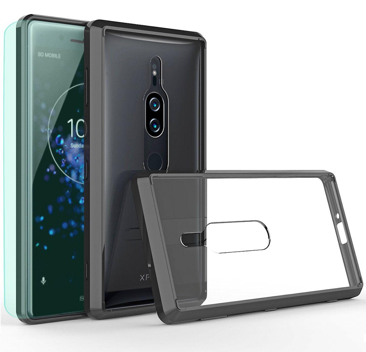 sports shoes 8f7ec 6af88 Sony Xperia XZ2 Premium Case with HD Screen Protector Thinkart Crystal  Clear TPU Bumper Ultra Slim Protective Case with Anti-Scratch for Sony  Xperia ...