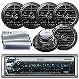 Kenwood Bluetooth CD MP3 USB AUX AM/FM Radio Marine Boat Stereo 6 X 6.5 Dual Cone Marine Speakers 4 Ch Waterproof 400 Watt Amplifier