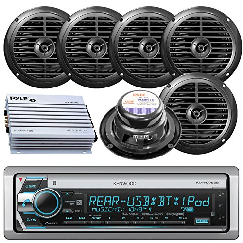 Kenwood Bluetooth CD MP3 USB AUX AM/FM Radio Marine Boat Stereo 6 X 6.5 Dual Cone Marine Speakers 4 Ch Waterproof 400 Watt Amplifier