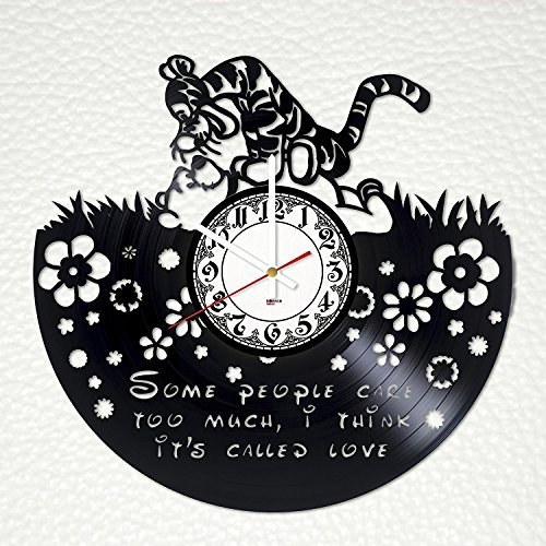 - Fun Door Winnie The Pooh HANDMADE Vinyl Record Wall Clock – Perfect gifts for birthday wedding anniversary valentine's mother's father's day - Gift ideas for men and women him and her