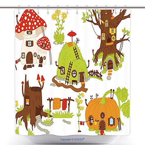 vanfan-Cool Shower Curtains Vector Forest House, Digital Vector Pumpkin, Amanita, Mushroom, Hill, Anthill, Tree House, Woodland House Polyester Bathroom Shower Curtain Set Hooks(60 x 72 inches)