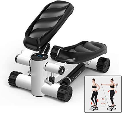 Mini Stepper for Indoor Workout Laisihee Mini Stepper with Adjustable Stepper Stepping Machine with Resistance Bands,Adjustable Stair Stepper,Fitness Cardio Exercise Trainer with Resistance Bands