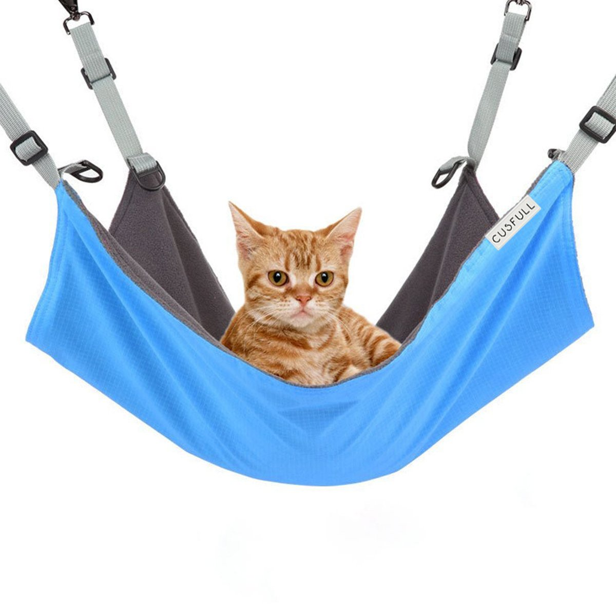 CUSFULL Cat Hammock Bed Comfortable Hanging Pet Hammock Bed Cats/Small Dogs/Rabbits/Other Small Animals 22 x17 in (Blue)