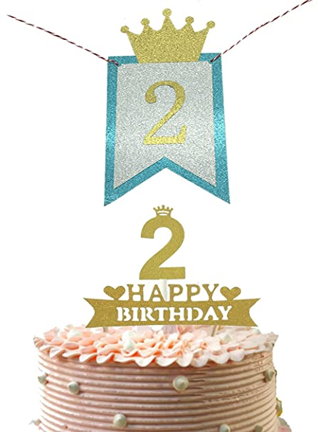 Alemon 2nd Baby Second Birthday Party Pennant Banner And Two Happy Cake Topper