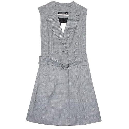 Vestido Sin Mangas Del Resorte De Las Mujeres Trabajando Chaleco A Cuadros De Largo,XXL-gray