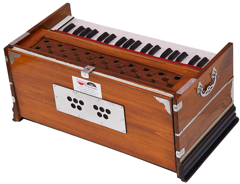 Harmonium Eco Model By Kaayna Musicals, Brown Colour, 7 Stops- 2 Drone, 3¼ Octaves, Gig Bag, Bass/Male Reed Tuned- 440 Hz, Best for Peace, Yoga, Bhajan, Kirtan, Shruti, Mantra, etc by Kaayna Musicals (Image #2)