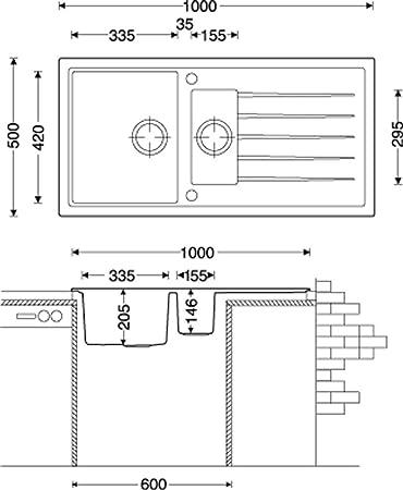 Küchenspüle Granitspüle Victory 1000 grau 60er Unterschrank: Amazon ...