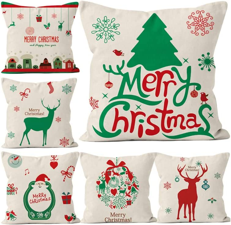 "18/"" Pillow Case Sofa Car Cushion Cover Home Decor Christmas New Year Ornament"
