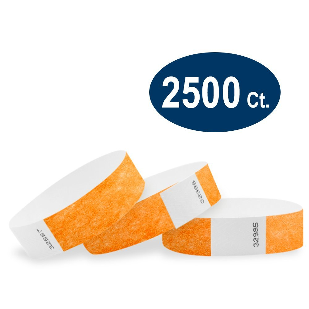 WristCo Neon Orange 3/4'' Tyvek Wristbands - 2500 Pack Paper Wristbands for Events by Wristco