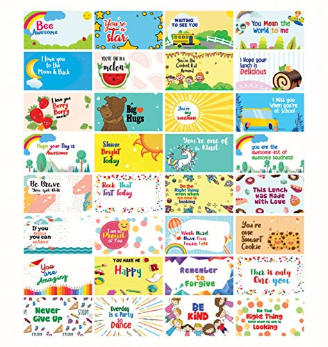 - Motivational Positive Lunch Box Notes for Children - Daily Inspirational Affirmations for Kids - Inspirational Cards - Encouragement Cards for Kids - Happy Notes for School Children - Pack of 32 Cards