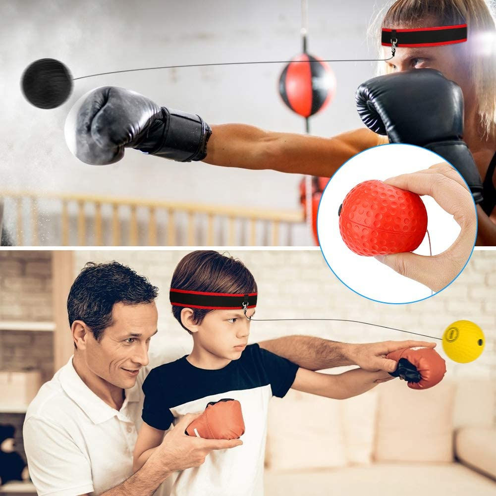 Boxing Reflex Ball Set 2 Adjustable Headbands for Hand Eye Coordination Boxing Ball Reflex Training with 3 Difficulty Levels Punching Ball Globalstore React Reflex Ball Boxing Kids and Adults