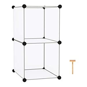 "C&AHOME Cube Storage, Bookcase, Modular Storage Organizer, 2 Cube Shelving Units for Closet, Home, Office, 12.4"" H x 12.4"" W x 24.8"" L Translucent White"