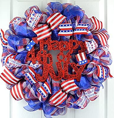 Fourth of July Independence Day Mesh Door Wreath; red white blue