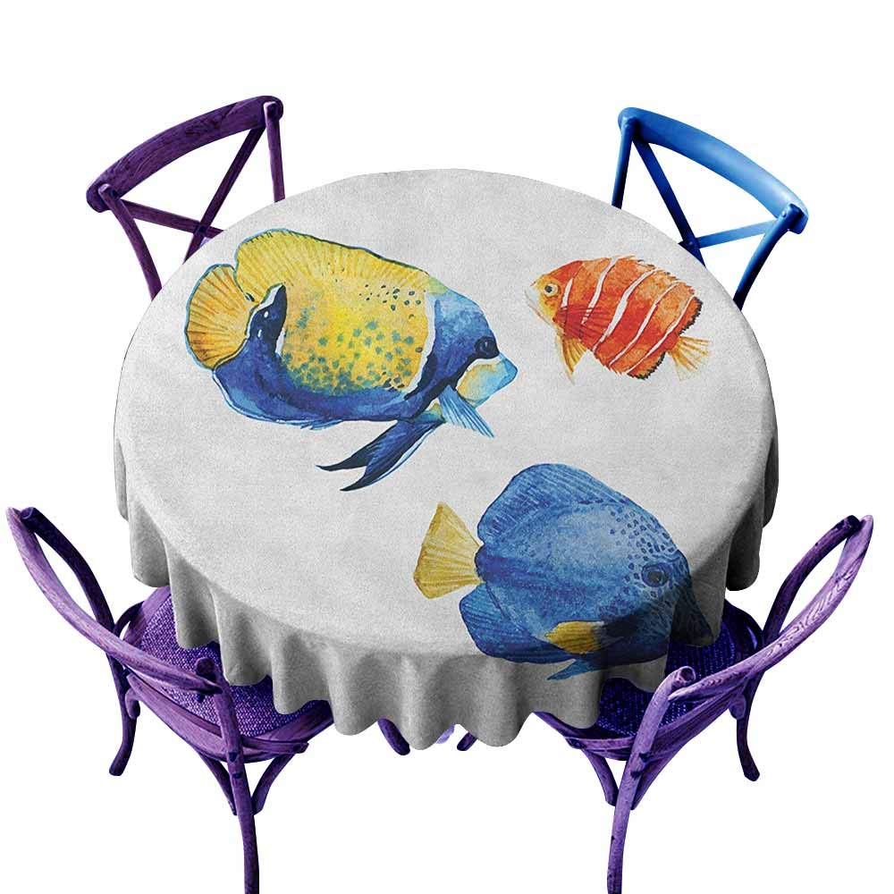 color03 70\ color03 70\ ONECUTE Resistant Table Cover,Fish Tropical Aquarium Life Discus Fish and goldfish in Different Patterns,Stain Resistant, Washable,70 INCH Azure bluee Yellow Scarlet