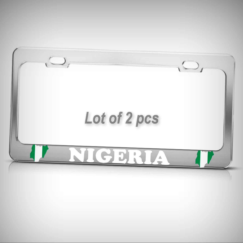 Set of 2 Pcs - Nigerian MAP Flag Nigeria Chrome Heavy Duty Metal Eagle Tag Holder License Plate Frame Decorative Border