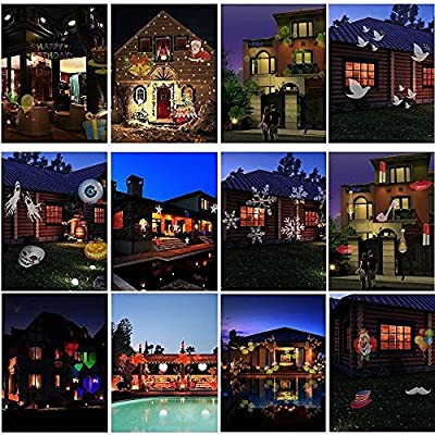 LIGHTLIFE 12 Slide Holiday Projector Light, Outdoor or Indoor Projector, Home Projector, Projection Light, Christmas, 4th of July, Valentines Day, St Patrick's Day, Birthday.