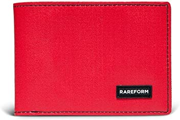 Rareform Men's Recycled Bifold Wallet, Minimalist Slim Billfold for Men Anderson (Red)