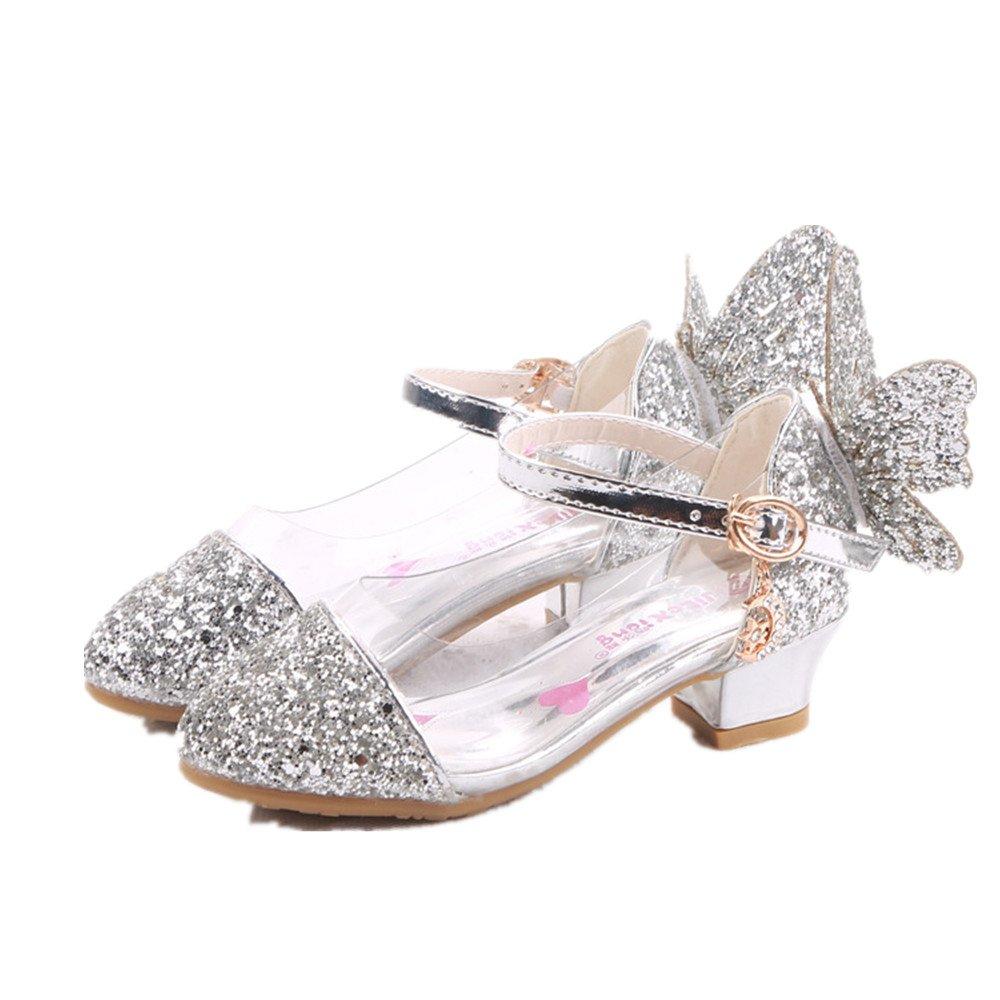 pit4tk Kids Girls Mary Jane Wedding Party Shoes Glitter Bridesmaids Low Heels Princess Dress Shoes(silver 37/5 M US Big Kid)