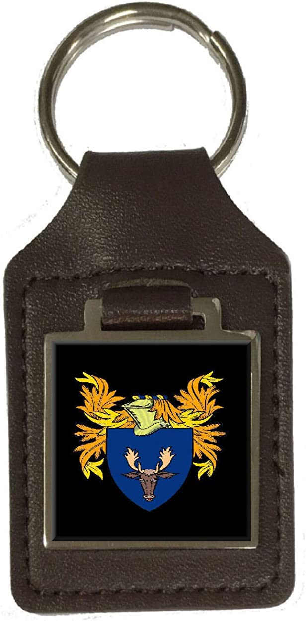 Mckenzie Family Crest Surname Coat Of Arms Brown Leather Keyring Engraved