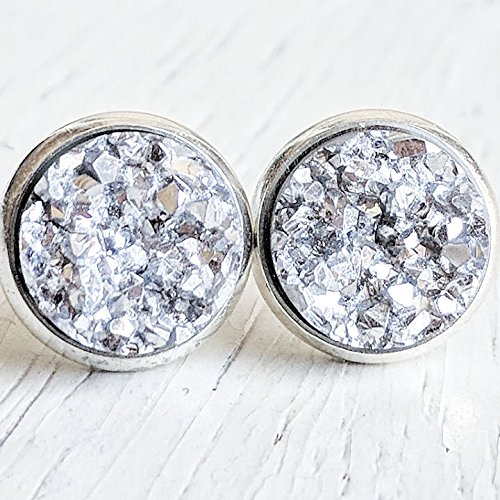 Birthday Bridal Shower Gift for Her Accessory Square Druzy Jewelry Silver Earrings Druzy Earrings Faux Druzy 12mm Anniversary