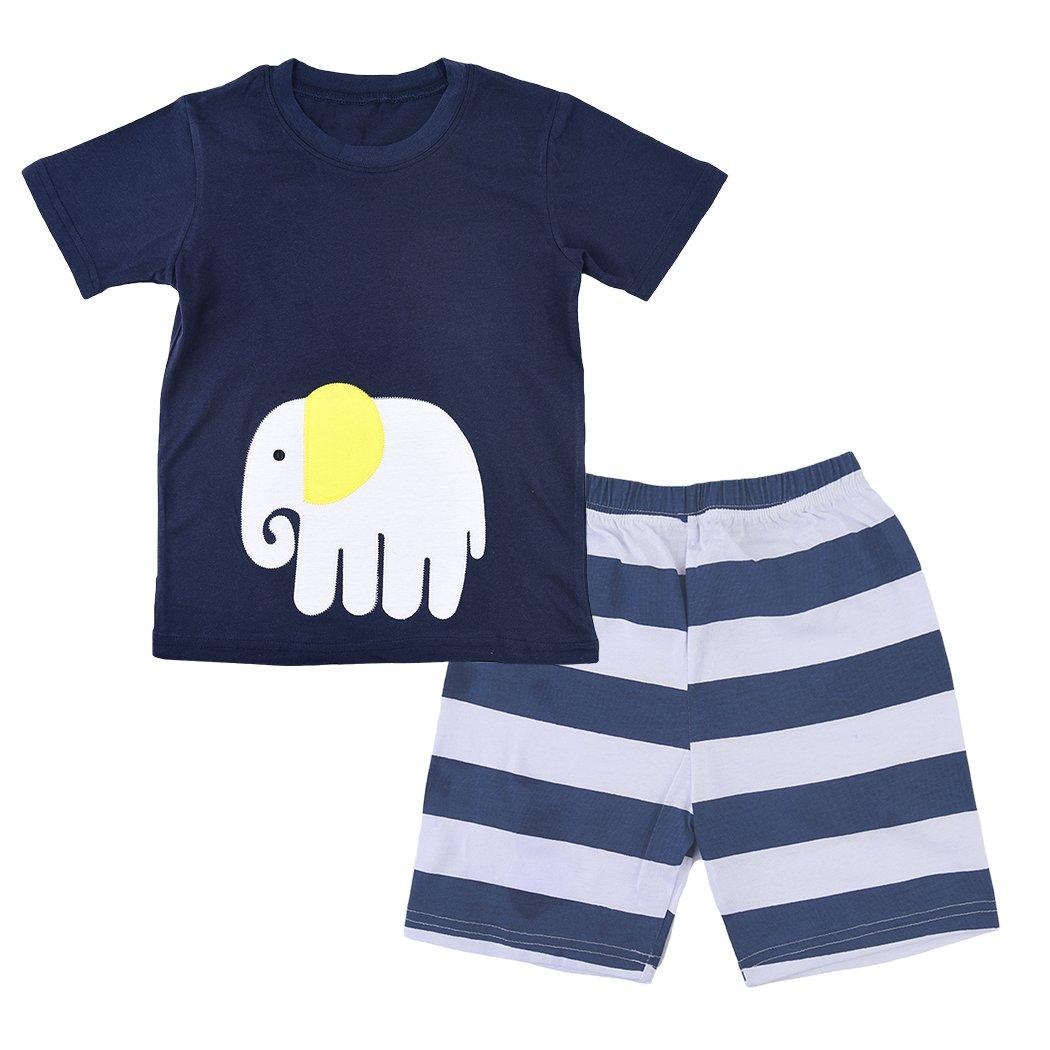 CM-Kid Little Boys Pajama Set Cartoon Elephant T-Shirt Pants Set