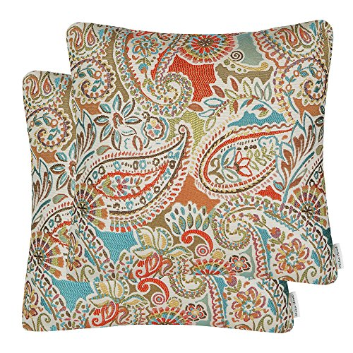 Mika Home Pack of 2 Decorative Accent Throw Pillow Cover Sham Cushion Case,Paisley Pattern,20x20 Inches,Red Teal Cream Multicolor (Red Pattern Paisley)