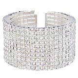 EleQueen Women's Silver-Tone 10-Row Austian Crystal Open End Wide Elegant Party Cuff Bangle Bracelet Clear