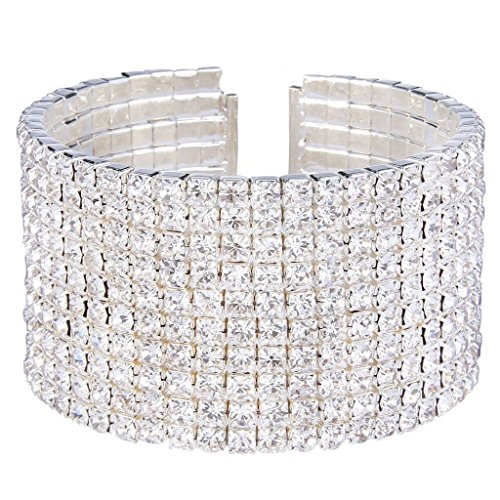 Formal Jewelry Costume (EleQueen Women's Silver-Tone 10-Row Austian Crystal Open End Wide Elegant Party Cuff Bangle Bracelet Clear)