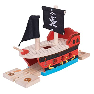 Bigjigs Rail Wooden Pirate Galleon - Other Major Wood Rail Brands are Compatible: Toys & Games
