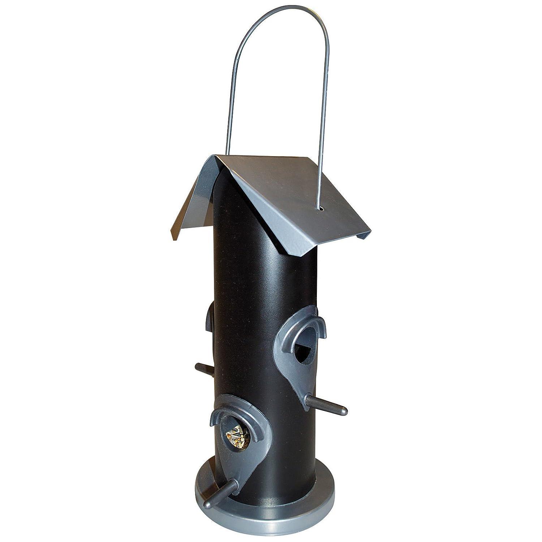 Vogelfutter-Station 25 cm Futterspender mit 4 Futteröffnungen Vogelhaus zum Aufhängen mit Metalldach - Vogelfutter-Spender perfekt für Wildvogelmischungen PROHEIM