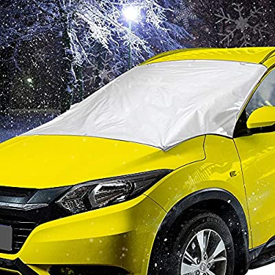 "Adori Car Windshield Snow Cover, Upgraded Thicker All Seasons Sun-Shade with 6 Magnets, Protective Windshield from Snow, Ice, and Frost. Fit Most Vehicles, SUVs, Trucks (47"" x 82"")"