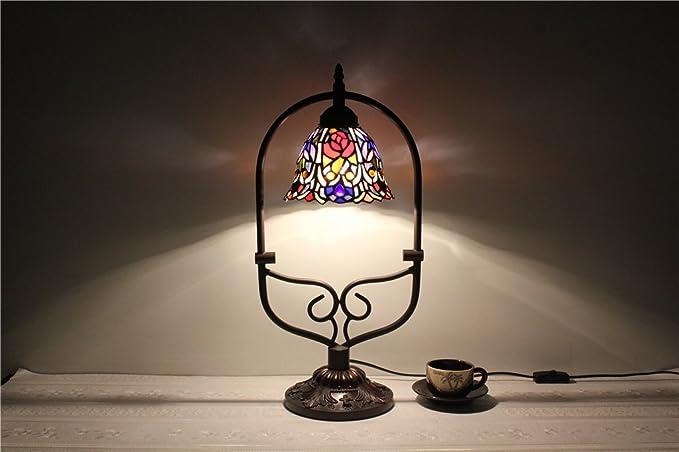 Lampade In Vetro Colorate : Piccola lampada da tavolo camera da letto comodino colorate retrò