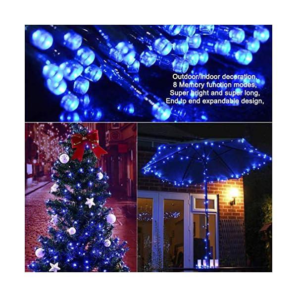 EPESL Luci natalizie 12m 120 leds con 8 modalità di memoria end to end estensibile catene luminose esterni ed interni decorazione per giorno di natale alberi casa Halloween festa giardino - blu 4 spesavip
