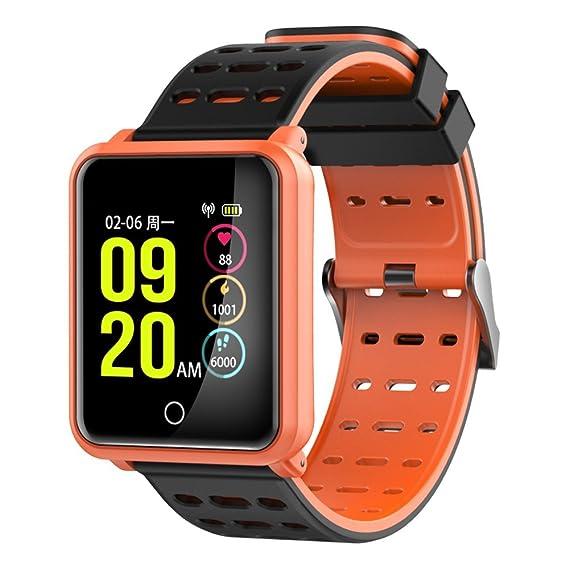 Reloj de Pulsera para Hombre Reloj Deportivo Rastreador de presión Arterial Monitor de Ritmo cardíaco Monitor de Actividad Reloj Inteligente (Naranja): ...
