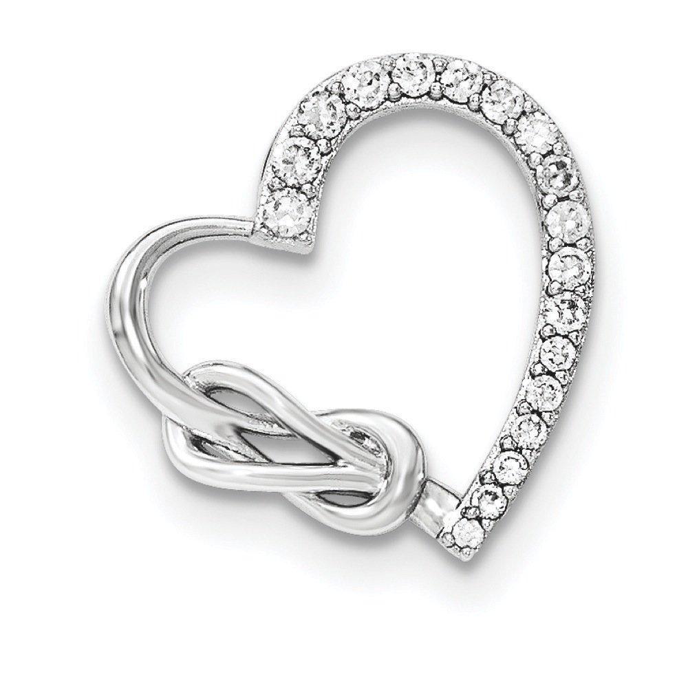 .925 Sterling Silver CZ Heart Chain Slide