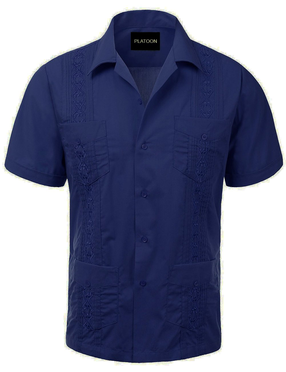 Platoon Guayabera Short Sleeve Mens Cuban Shirt Wedding Cigar Beach Bartender (L, Dark Blue)