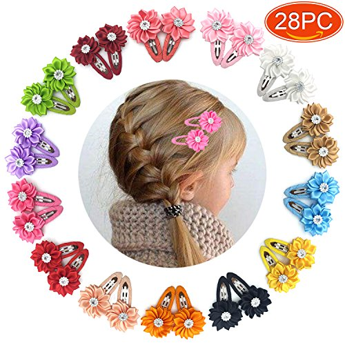 Elesa Miracle 28pcs Baby Girl Hair Clips Kids Little Girls Boutique Grosgrain Ribbon Flower Hair Bows Clips