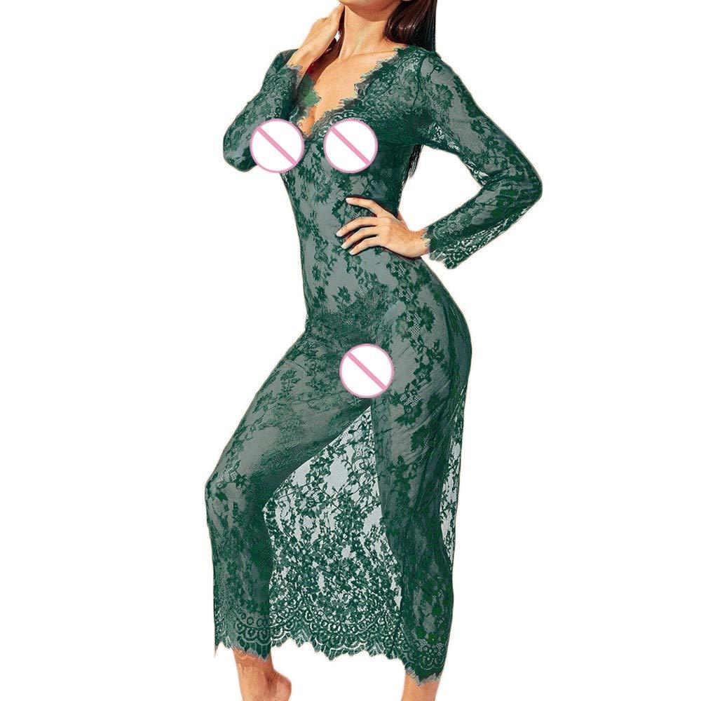 Damen Kleid FORH Gown Kurz Dessous Kimono Spitze Kimono Bademantel Nachtw/äsche Robe Mesh Bikini Cover up Spitze Negligee Sch/öne Nachthemd Dessous Langer Rock