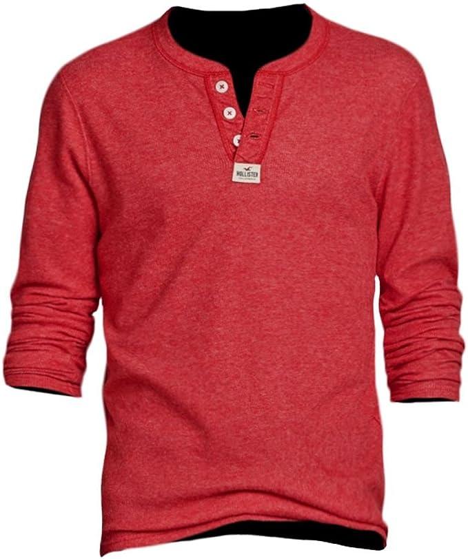 Hollister - Camiseta de Manga Larga - Básico - Manga Corta - para Hombre Rojo X-Large: Amazon.es: Ropa y accesorios