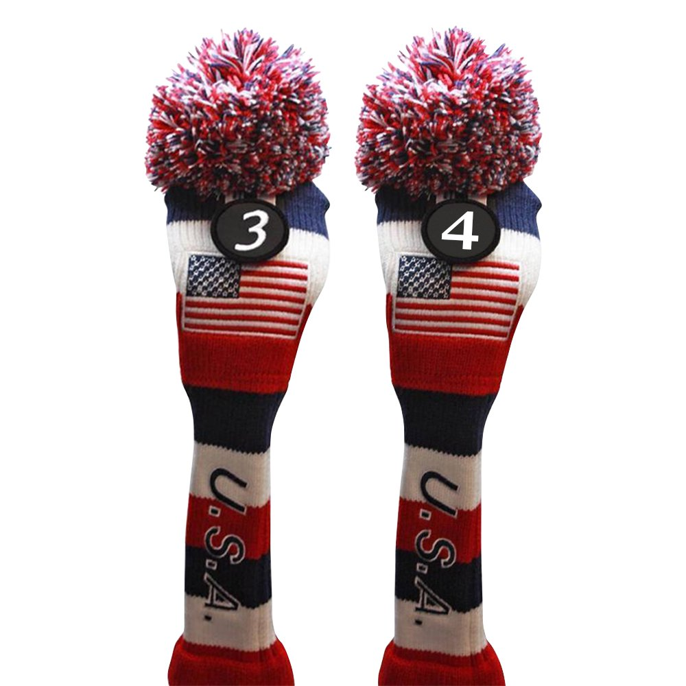 USA Majekゴルフ# 3 & 4ハイブリッドヘッドカバー3ポンポン付きニットLimited EditionヴィンテージクラシックTraditionalフラグ星レッドホワイトブルーストライプレトロヘッドカバー   B076YBNNFB