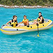Inflatable Boat for Familay Outdoor Relax, Wfinau 3 Persons Inflatable Kayak, Sea or River Fishing Boat with O