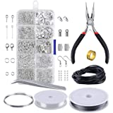 walmeck Jewelry Making Kit Jewelry Findings Starter Set Jewelry Beading Making and Repair Tools Pliers Silver Beads Wire…