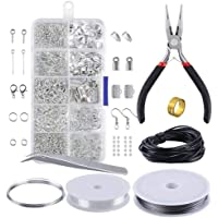 walmeck Jewelry Making Kit Jewelry Findings Starter Set Jewelry Beading Making and Repair Tools Pliers Silver Beads Wire Starter Tool