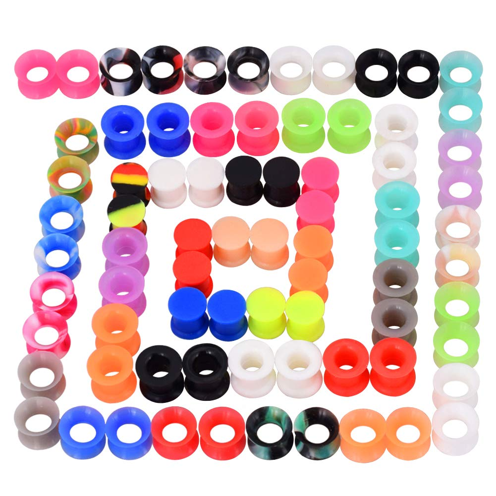 Longbeauty 36Pcs/76Pcs Colorful Soft Silicone Ear Gauges Flexible Ear Skin Tunnels Earlets Plugs Stretcher Expander Set Piercing Jewelry 2g-3/4 by Longbeauty