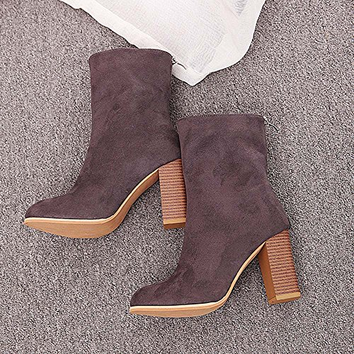 Heels Boots Warm High 43 Gray 36 Faux Ankle Fashion Buckle Shoes Women Winter Ladies Boots JERFER Martin anYP6zqvv