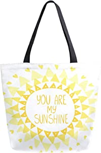 ZzWwR Stylish Beautiful Sun Triangles You Are My Sunshine Print Extra Large Canvas Shoulder Tote Top Storage Handle Bag for Gym Beach Weekender Travel Reusable Grocery Shopping